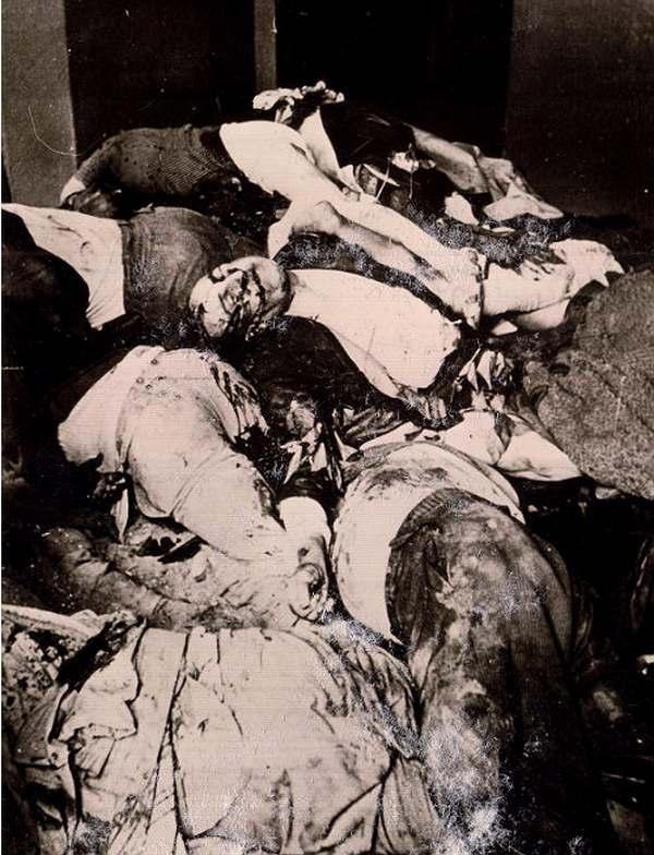 Трупы расстрелянных заключенных в камере тюрьмы на Лонцкого. Львов, 1 июля 1941 года. Некоторые такие камеры немцам пришлось замуровать, чтобы избежать эпидемии. Повторную эксгумацию провели в феврале 1942 г., когда ударили морозы. Архив ЦИОД